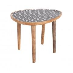 Bout de canapé oval en bois et plateau résine à motifs - vue de face - SOULA 603