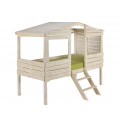 Lit cabane 90x200 en pin blanc aspect vieilli - vue de côté sans tiroirs - WOODYWOOD 329