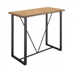 Table haute 120 cm rectangulaire effet bois et métal - DUBLIN 886