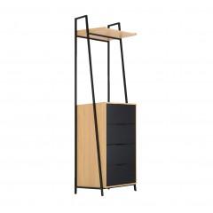 Commode en bois 4 tiroirs et 1 tablettes - HENRY 900