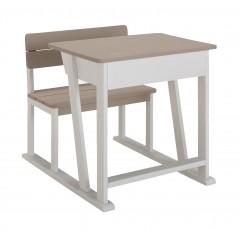 Bureau enfant blanc et gris et bois avec rangement - vue de côté - JULES 689