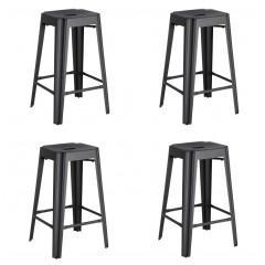 Lot de 4 tabourets de bar industriel en métal gris anthracite H 69 cm - TRIVIA