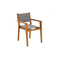 Chaise de jardin en eucalyptus empilable avec accoudoirs gris - DEGABY