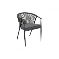 chaise de jardin avec accoudoirs en aluminium et corde noir - LORCA