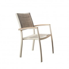 Chaise de jardin avec accoudoirs empilable en eucalyptus - DOLE