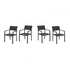 Lot de 4 chaises de jardin avec accoudoirs en aluminium et textilène - ADANA 119