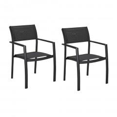 Lot de 2 chaises de jardin avec accoudoirs en aluminium et textilène - ADANA 119