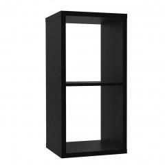 Etagère cube 2 casiers noir mat - vue en angle - MAURO