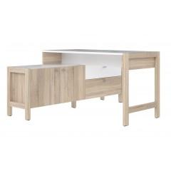 Bureau d'angle 2 portes 2 tiroirs blanc et décor chêne clair - SCANDI