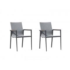 Lot de 2 chaises de jardin en aluminium pour table de repas - ROATAN