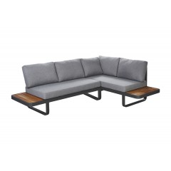 Canapé d'angle de jardin en aluminium tissu et teck - MALDIVES