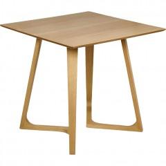 Table de repas décor bois pieds chêne massif - vue d'angle - URSULE 143