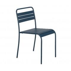 Chaise de jardin empilable en acier bleu marine - SOURIS