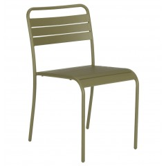 Chaise de jardin empilable en acier vert kaki - SOURIS