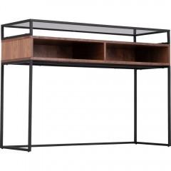 Console décor bois foncé et en métal noir  - ESPERANCIO 063