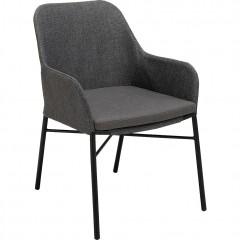 Chaise de jardin matelassée en métal et textilène gris anthracite - JORGI 080
