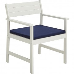 Fauteuils de jardin en bois blanc et coussin bleu - DOMINO 585