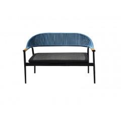 Canapé de jardin en aluminium gris anthracite et tressage bleu - AROUSA