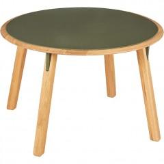 Table basse ronde en chêne massif et métal vert cèdre - vue de côté - GIZIO 700