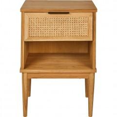 Table de chevet en acacia et rotin avec tiroir et niche - ARTHURA 726
