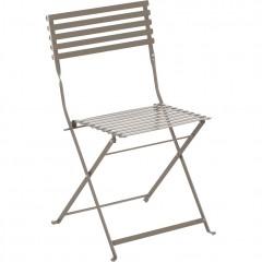 Chaise de jardin pliante à barreaux en métal taupe - CERVIONE 485