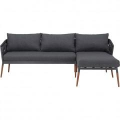 Canapé d'angle de jardin gris anthracite avec pieds bois et corde - ASTAKOS 680