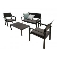 Ensemble 4 pièces - salon de jardin design minimaliste en aluminium noir - TIMOR