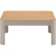 Table basse de jardin carrée en aluminium beige et teck - vue de face - PORTALS 683