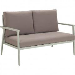 Canapé de jardin 2 places en aluminium vert clair accoudoirs et coussins tissu gris - RIMBAUD 679