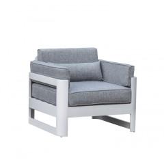 Fauteuil de jardin en aluminium blanc et coussins gris - MINORQUE