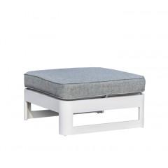 Pouf/repose-pied de jardin en aluminium blanc et coussins gris - MINORQUE