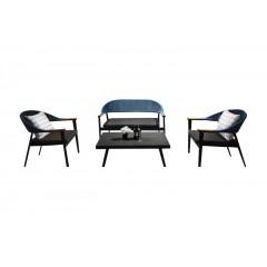 Ensemble 4 pièces - salon de jardin en aluminium gris anthracite - AROUSA
