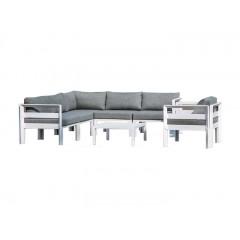 Ensemble 4 pièces - salon de jardin en aluminium blanc et coussins gris - MOOREA