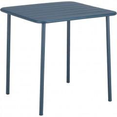 Table de jardin carrée en métal bleu marine avec plateau à lattes 2 à 4 places - PATIO 2786