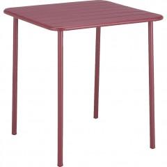 Table de jardin carrée en métal bordeaux avec plateau à lattes 2 à 4 places - PATIO 2779