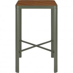 Table haute de bar / mange debout carrée en métal et bois - ALEP