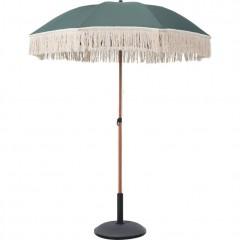 Parasol de plage vert kaki à franges D180cm - RICCIA 988