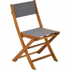 Chaise de jardin pliante en bois vue de côté - BORGIO 329