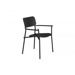 Chaise de jardin au design minimaliste noir vue de côté - MATIAS 583