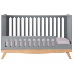 Lit bébé gris en bois 70x140cm - vue de face - ANAE 484