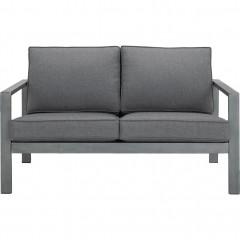 Canapé de jardin 2 places en aluminium et tissu gris - CAGLIARI 440