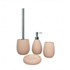 Set 4 accessoires salle de bain rose - COVENTRY (vue du set de 4)