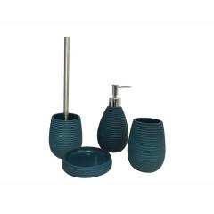 Set 4 accessoires salle de bain bleu - COVENTRY (vue d'ensemble)