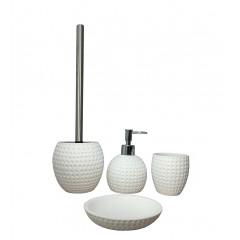 Set 4 accessoires salle de bain aspect rond blanc - JULIA (vue du set)