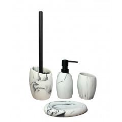 Set 4 accessoires salle de bain aspect marbre  blanc - BRADFORD (vue d'ensemble)