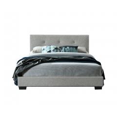 Lit 160x200 capitonné gris design classique - ELAINE (vue de face)
