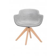 Chaise rotative en tissu gris clair et pieds bois - UNDER (vue de face)