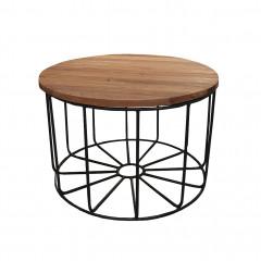 Table basse ronde en métal noir et bois exotiques recyclés D.65 cm - FILO