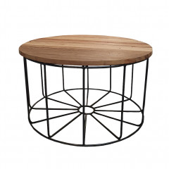 Table basse ronde en métal noir et bois exotiques recyclés D.80 cm - FILO