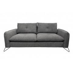 Canapé design 2,5 places en tissu gris anthracite et pieds en métal noir - ESTEBAN